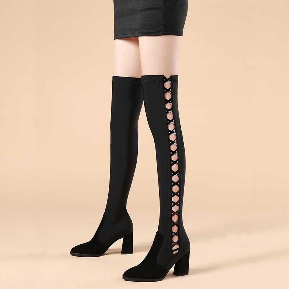 Bottes femmes noires creuses sur le genou talon haut serré femmes bottes extensibles hiver épais avec Sexy Slim fit femmes chaussures