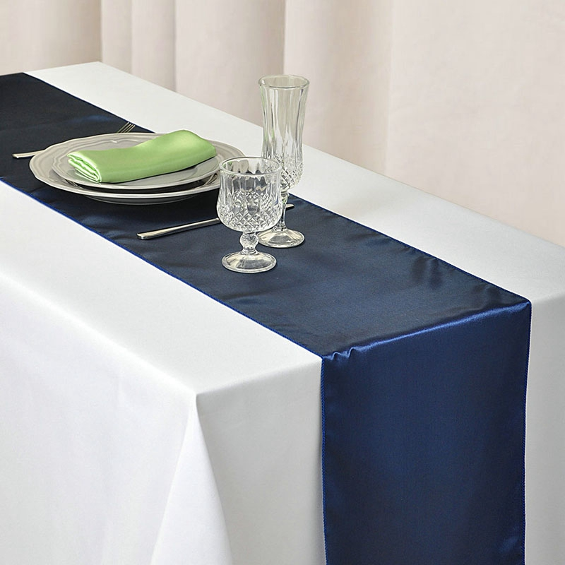 10Pcs Navy Blue Satin Table Runner 12 X 108Inch Wedding Party Supply Event Favours Home Anniversary Decoration 30Cm X 275Cm|Table Runners| |  - title=