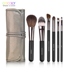Docolor 6 Pcs Makeup Brushes Set Alat Kosmetik Bubuk Eye Shadow Foundation Blush Blending Kecantikan Make Up Maquiagem(China)