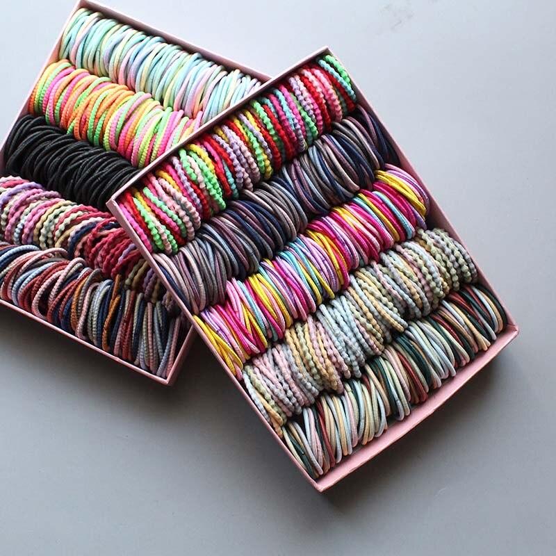 100pcs/lot 3CM Hair Accessories girls Rubber bands Scrunchy Elastic Hair Bands kids baby