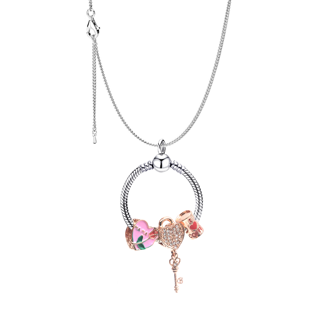 Seialoy New Cute Beaded Snake Chain Pendant Necklace Castle Charm Necklace For Women Original Fine Girl Jewelry Gift