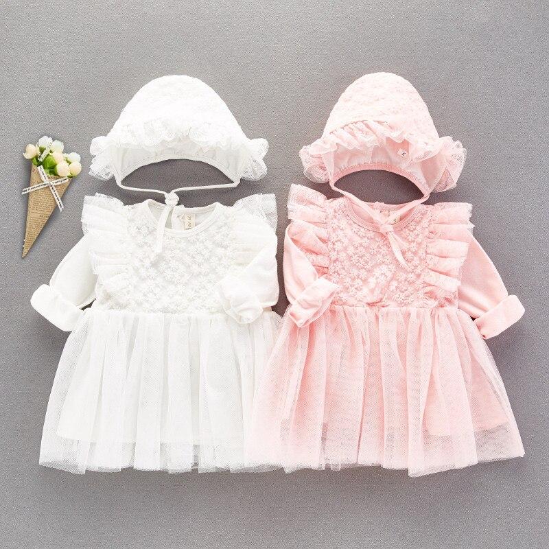 Manga longa rendas bebê menina vestido de festa e vestidos de casamento baptismo princesa algodão bebê meninas roupas outono novo