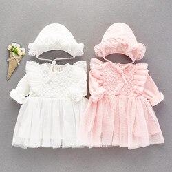Langarm Spitze Baby Mädchen Kleid Party und Hochzeit Kleider Taufe Prinzessin Baumwolle Baby Mädchen Kleidung Herbst Neue