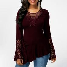Patchwork Blouse Asymmetrical Shirts Tunic Flare-Sleeve Lace Blusas Female Autumn Plus-Size
