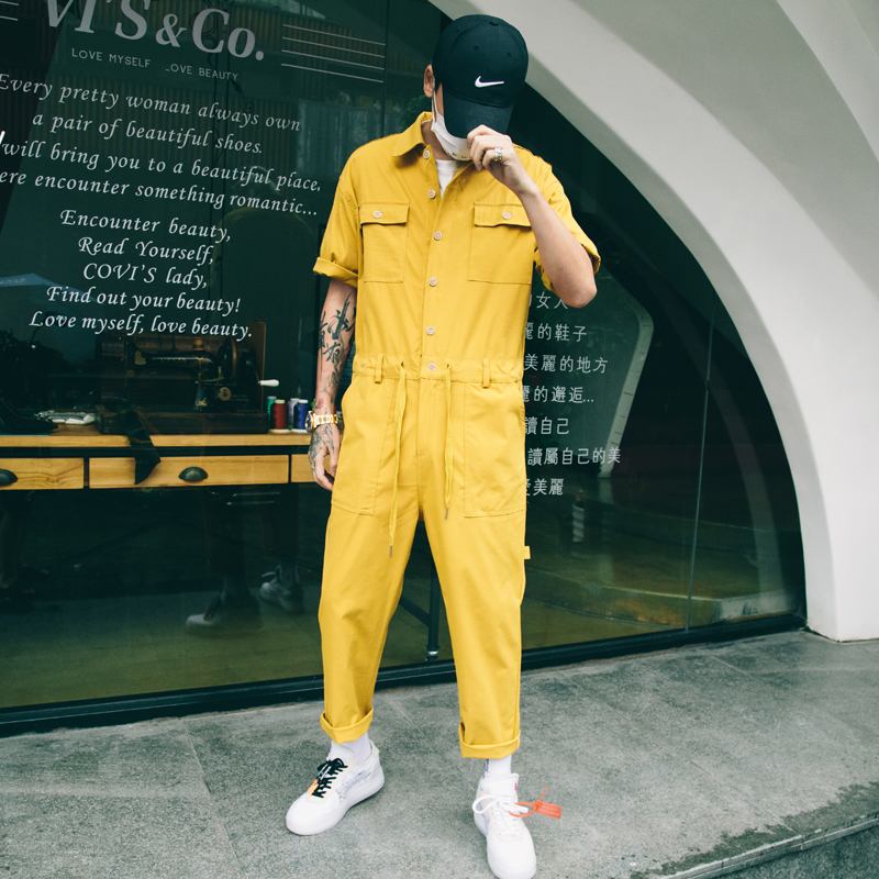 New Fashion Jumpsuit Men Rompers One Piece Overalls Mens Short Sleeve Casual Punk Rock Denim Pants Male Clothing Plus Size