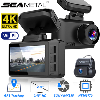 Car DVR Dash Cam 4K Ultra HD 2.4 Driving Recorder WIFI 3840*2160P 30FPS 170 Wide Angle Detection GPS Tracker Dashcam Registrar image