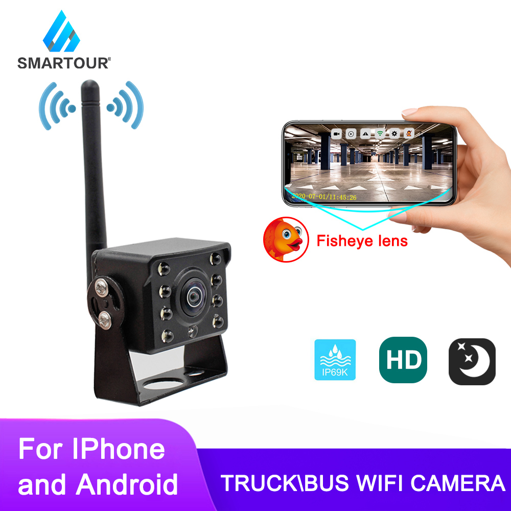 WiFi Wireless Car Rear View Camera Truck Bus 12V 36V Automobile LED Reverse HD Night Vision Backup Camera For Iphone IOS Android