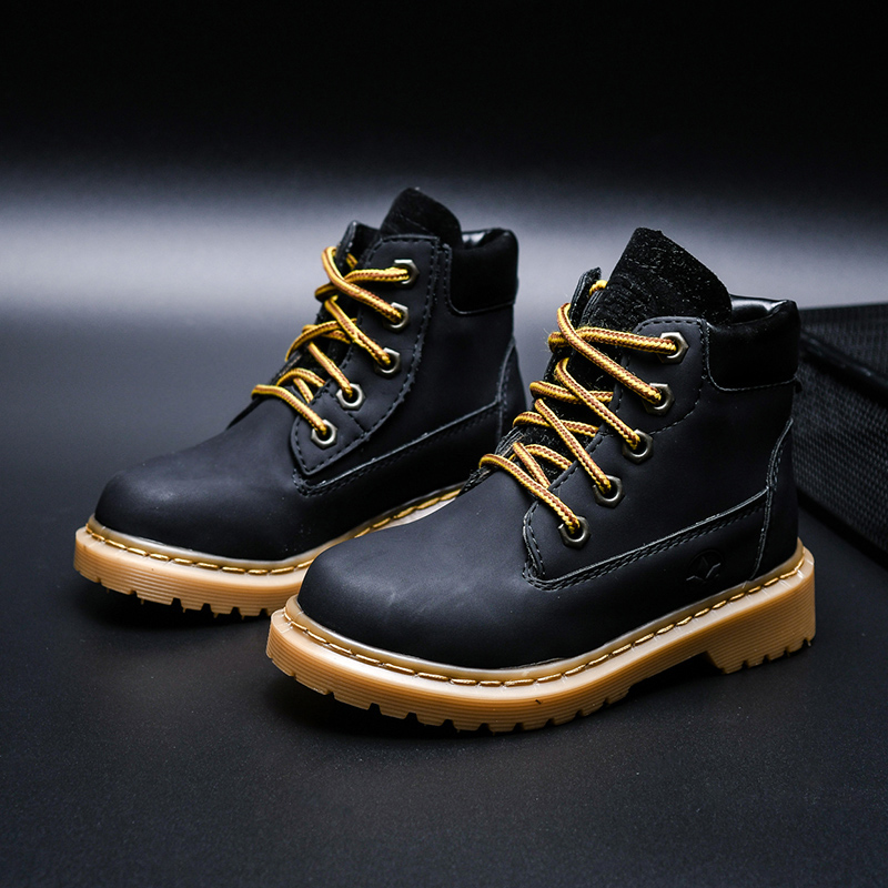 Kids Martin Boots Waterproof Classic Ankle Boots Children Leather Warm Thicken Boots Boys Outdoor Winter Antislip Casual Shoes