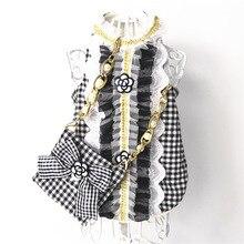 Torba na ubrania dla kota zestaw sukienka dla zwierzaka kamizelka luksusowa perłowa dekoracja klasyczny kamelia strój dla szczeniaczka dla psa mały Meduim pies Chihuahua