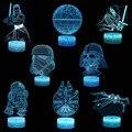 3D иллюзия светодиодный ночник Дарт Вейдер Мастер Йода Сокол Миллениум модель лампа зажигающаяся от прикосновения звездная серия войны фил...