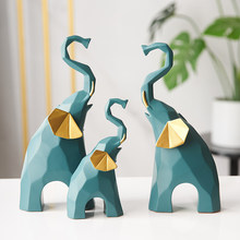 Nordic Decor Geometric Elephant Figurines Creative Resin Ornaments Nordic TV Cabinet Decorative Miniatures Office Desk Decor
