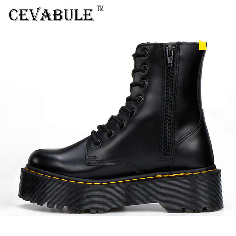 CEVABULE 2019 Women Martin Boots Genunie Leather Thick Heel Platfrom Martin Boots Boots Women Side Zipper Boots Leather Boots
