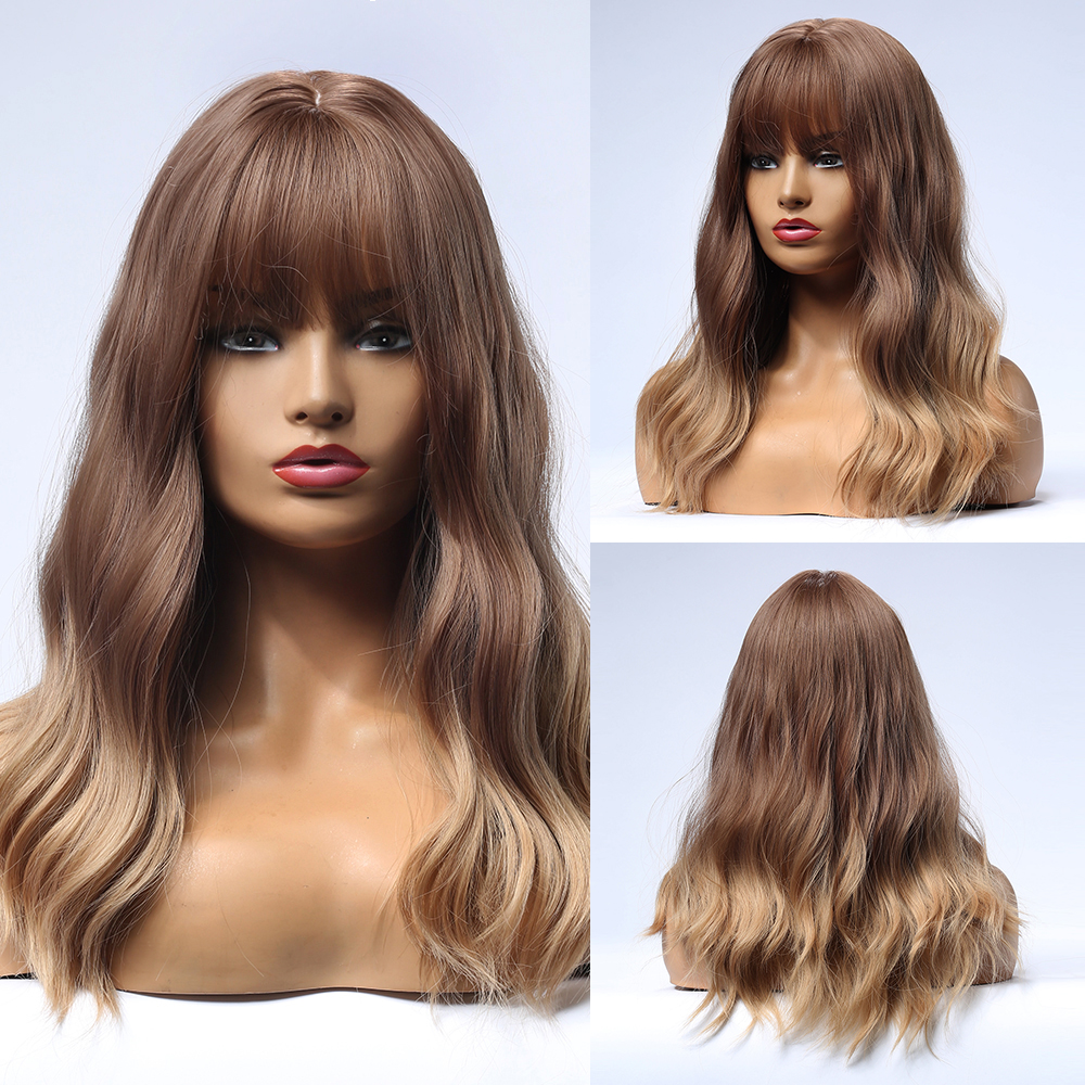Blonde Unicorn Synthetic Wig Ombre Light Brown Water Wave Women Long Hair Wigs with Bangs Daily False Cosplay Hair Wig for Women