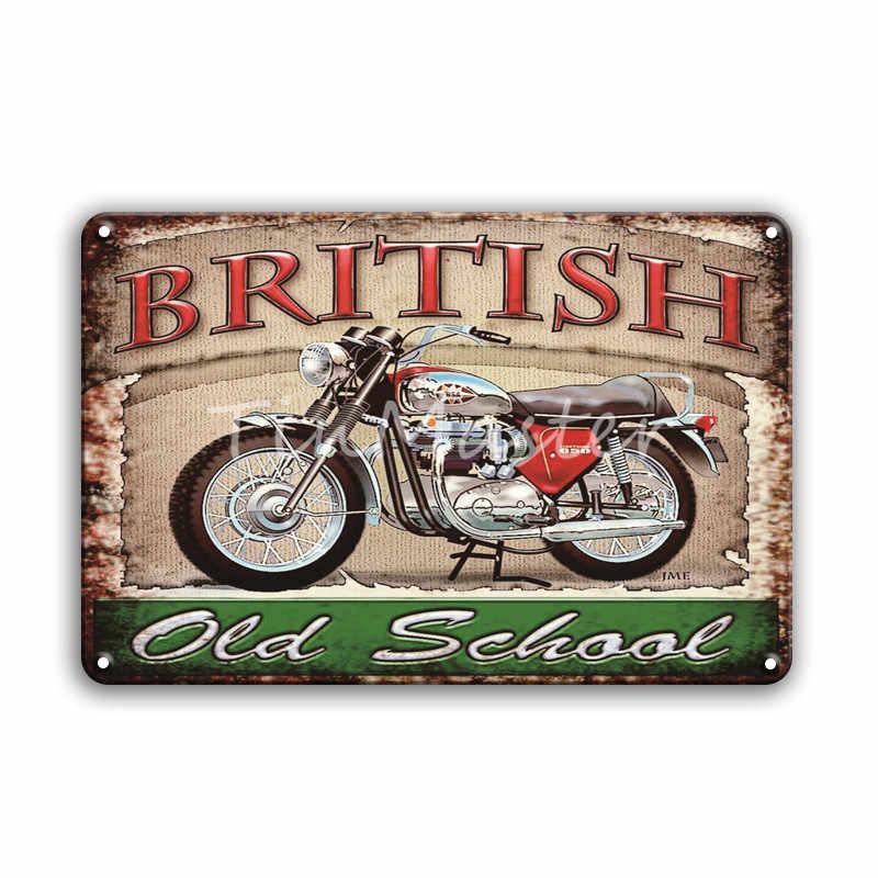 Vintage Motorräder Poster Metall Zeichen Retro Martini Texaco Zinn Platte Zeichen Plaque Metall Vintage Garage Pub Mann Höhle Wohnkultur