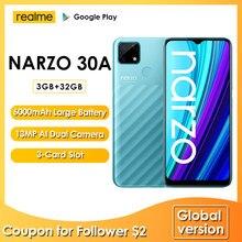 Realme Narzo 30A wersja globalna 3GB 32GB Smartphone Helio G85 13MP podwójny aparat fotograficzny AI 6000mAh 6.5 Cal pełny ekran 18W szybkie ładowanie