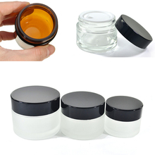 20pcs 5g 10g 15g 20g 30g 50g Rosted Clear Amber Glass Jar Skin Care Cream Container with Lid and Inner Pad Travel Bottle Pot