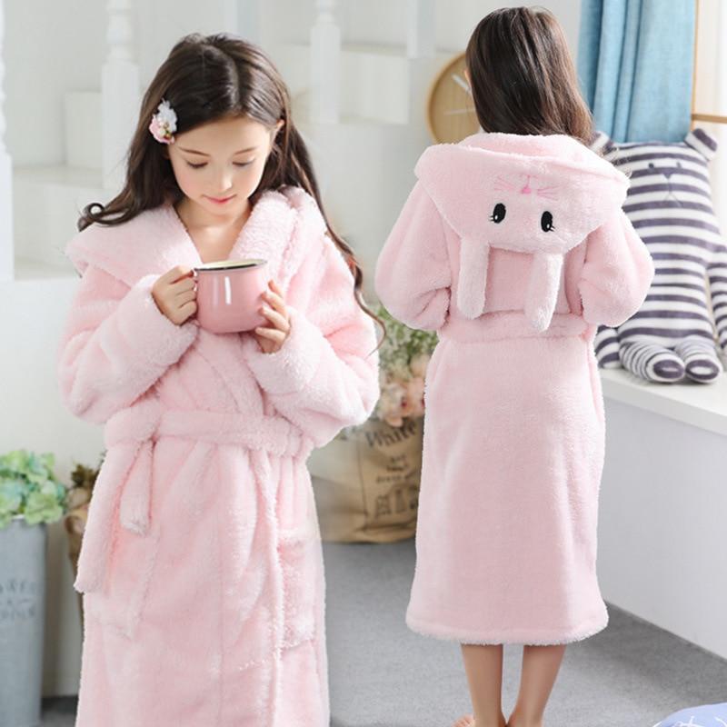 Children's bathrobe for girls 2-13Y Flannel Terry bathrobe cute pink rabbit baby bathrobe with a hood for children winter
