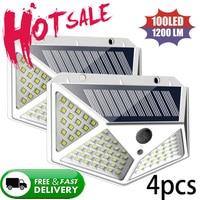 Luz LED Solar para decoración de jardín, lámpara Solar impermeable con Sensor de movimiento PIR, luz de calle para Navidad, 100