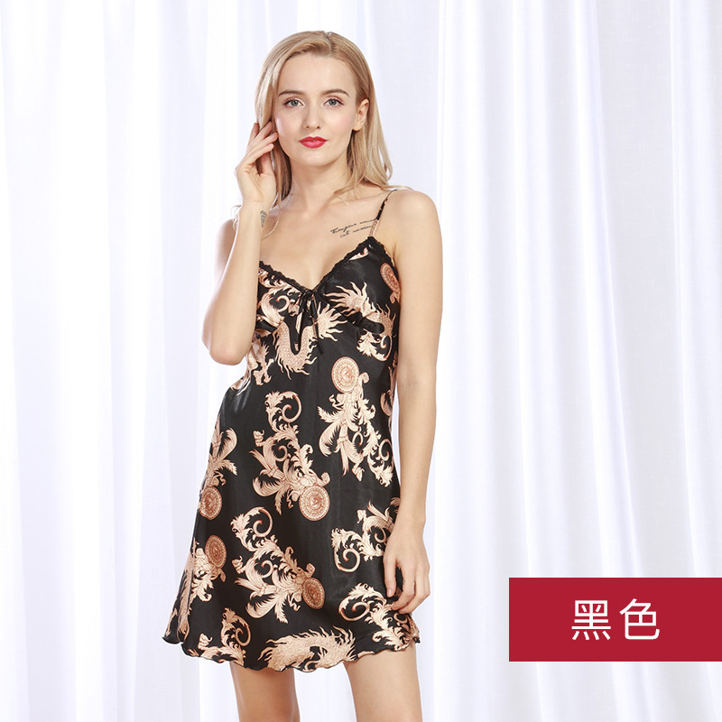 WOMEN'S Strap Nightgown Summer Skirt Imitated Silk Fabric Sexy Silk Strap Women's Sleepwear V-neck Chinese-style Home Wear