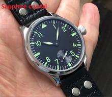 Sapphire crystal 44mm black dial Asian 6498 Mechanical  movement mens watch green luminous Mechanical watches gr43 20