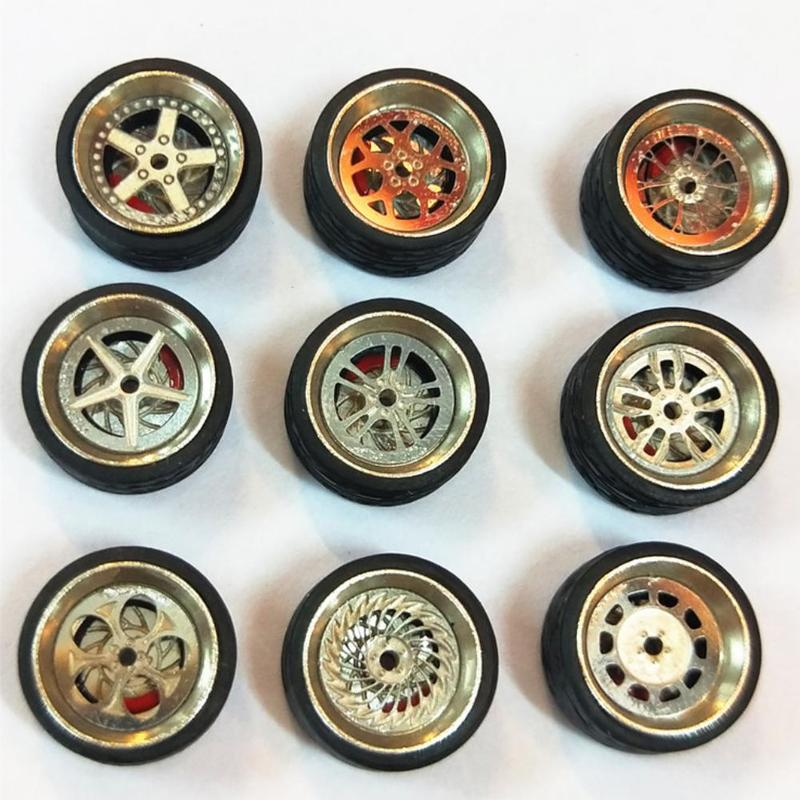 1:64 Cars Wheels Tire Model Toys Vehicle Modification Parts Alloy Wheels Rubber Tires Model Toys Car Accessories Models For Kids