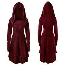 S-5XL платье с капюшоном для женщин среднего возраста Ренессанс Хэллоуин Охотник Арчер костюмы для косплея Винтаж средневековые повязки вечерние Vestido
