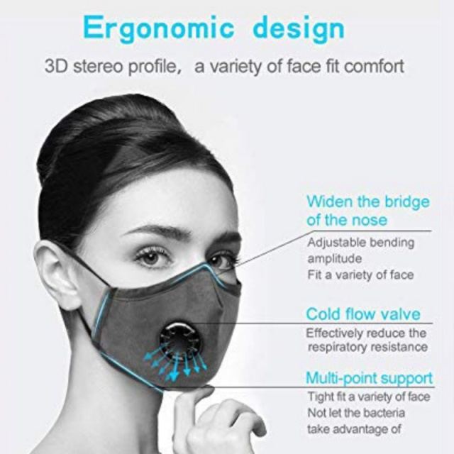 PM2.5  Mask +2 Filters  Breathe Reusable Face Mask Anti For Outdoor Sports Travel Resist Dust Germs Allergies  Mask 4