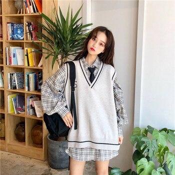 Zimowe bluzki bez rękawów dla kobiet 2020 koreański styl preppy Vintage haft V Neck sweter z dzianiny kamizelka czarny szary kawy T358