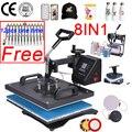 Doble pantalla 30*38CM 8 en 1 Combo máquina de prensa de calor impresora de sublimación 2D máquina de transferencia de calor para tapa taza placa camisetas CE