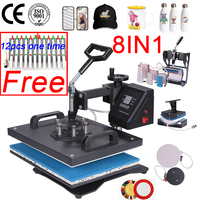 doubl display 30*38CM 8 in 1 Combo Heat press Machine 2D Heat Transfer Machine Sublimation Printer for Cap Mug Plate Tshirts CE