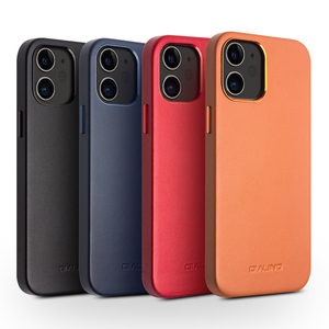 Image 5 - QIALINO Genuine Leather Slim Phone Case for iPhone 11/12 Mini Fashion Handmade Anti knock Back Cover for iPhone 11/12 Pro Max