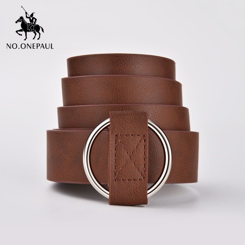 NO.ONEPAUL Women's Belt Dress Designed By The New Fashion Designer Round Hole Without Retro Buckle Women Waist The Leather Belts