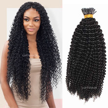30inch Long Curly Microlink I Tip Hair Brazilian Human Hair 1g/s 100 Strand Full Head Keratin Fusion Hair Color 1 4 27 30