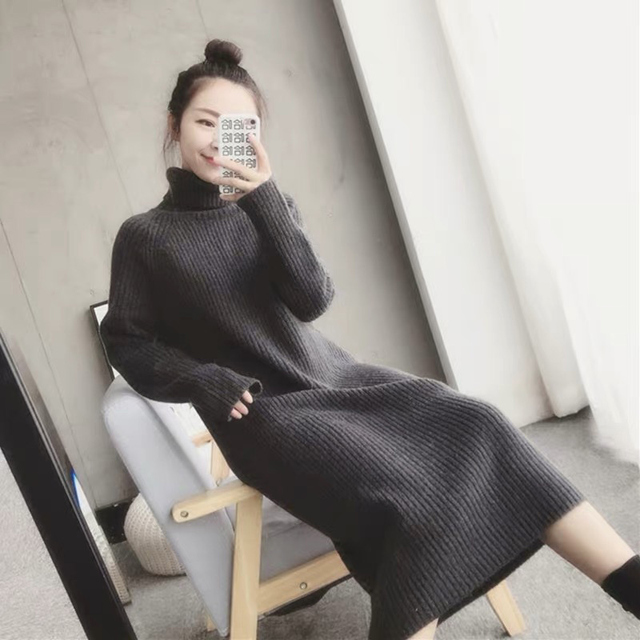 Turtleneck knitted sweater dress ladies fall winter elastic cashmere bottoming shirt midlength over the knee thick sweater dress 4