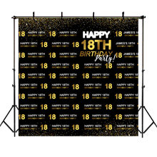 NeoBack 18th Birthday Backdrop Repeat Steps Eighteen Happy Birthday Photography Backdrops Golden Dots Birthday Party Background(China)
