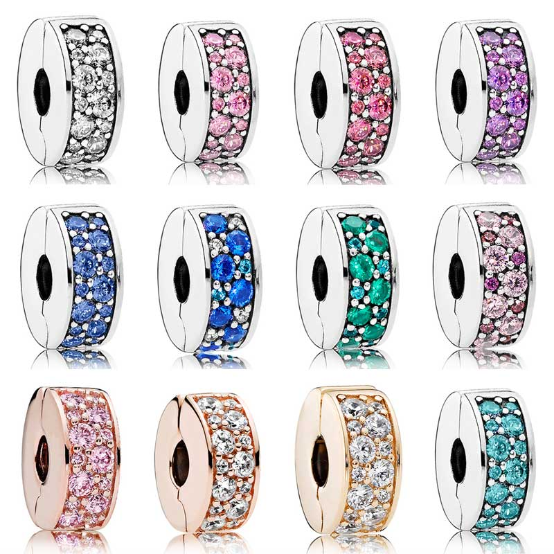 Rose Gold Pave Multicolor Mosaic Shining Elegance Clip Stopper Beads Fit Pandora Bracelet 925 Sterling Silver Charm Jewelry(China)