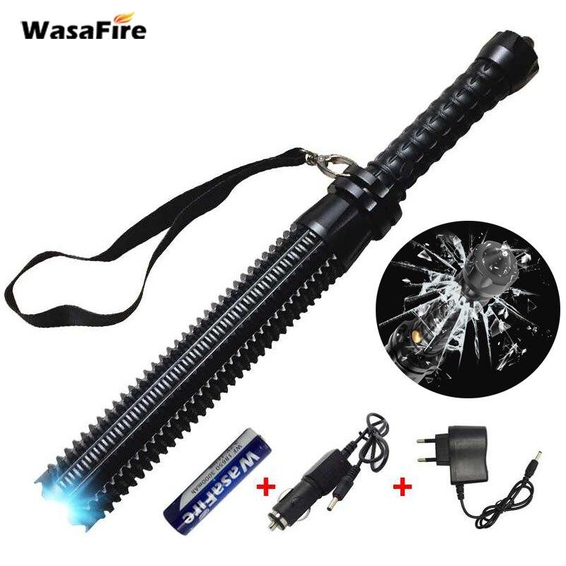 Zoomable bâton télescopique auto-défense, ensembles puissants XML Q5 bâton de défense télescopique Baton tactique torche Rechargeable 18650