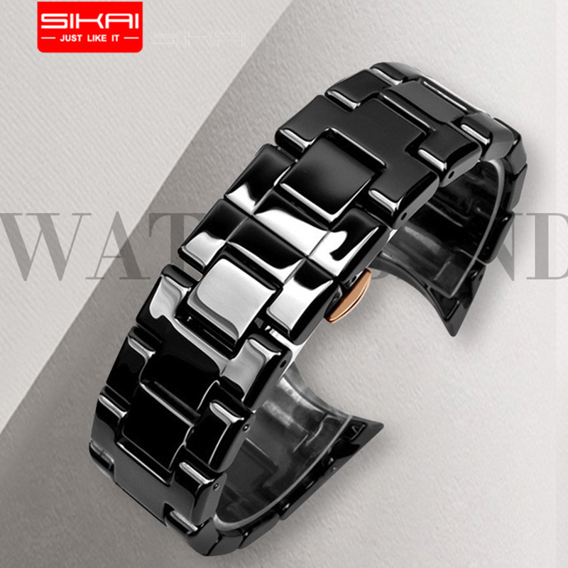SIKAI For Emporio Armani AR1410/AR1400 Luxury Business Style For men Curve Butterfly clasp luxury watch strap ceramic watch band
