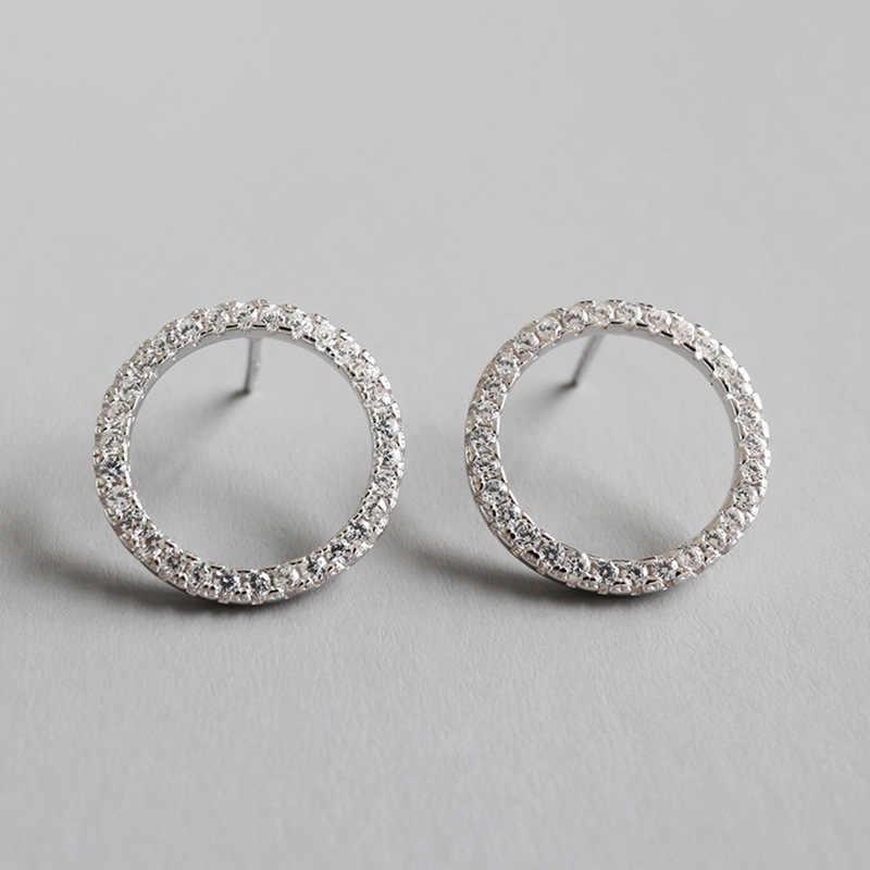 Geometría Zircon Stud Pendientes De Plata para las mujeres ronda Pendientes De botón Pendientes De Plata De Ley 925 para Mujer joyería De moda