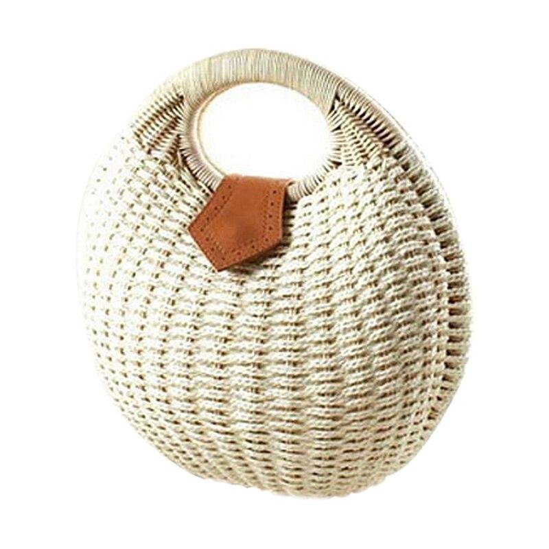 Snail's Nest Tote Handbag Summer Beach Bags Woman Straw Bags Women's Handbag Rattan Bag(White)