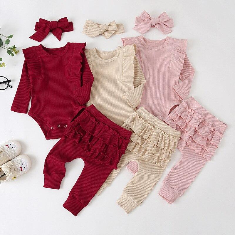 0-24m bebê recém-nascido infantil meninas plissado camiseta macacão topos leggings calças roupas conjunto de manga longa outono roupas de inverno