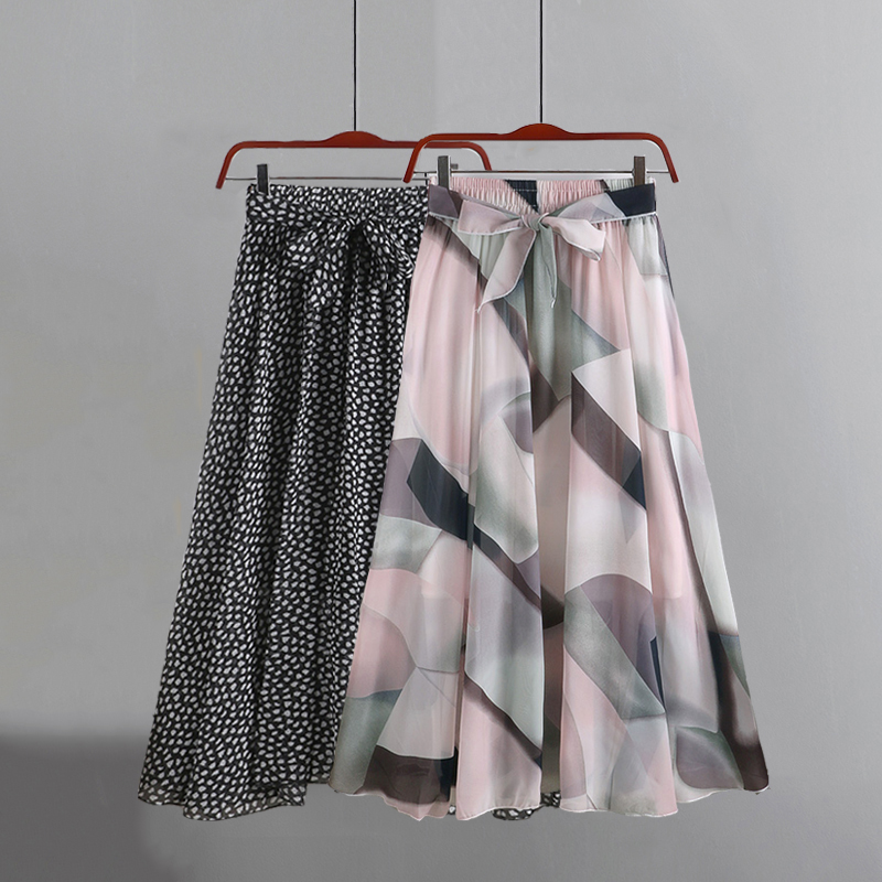 Summer Women Chiffon Vintage Elegant Bohemia Midi Skirt With Belt 2020  High Waist Pleated Skirts Womens Lady Print Skirts Femal