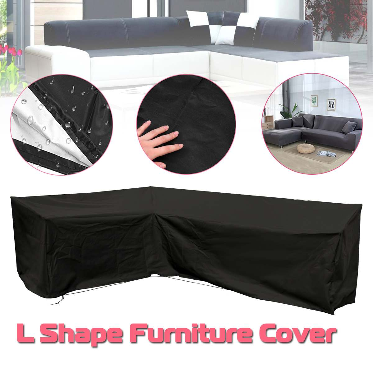 Waterproof Outdoor Patio Garden L Shape Furniture Covers Rain Snow Chair Covers For Sofa Table Chair Dust Proof Cover