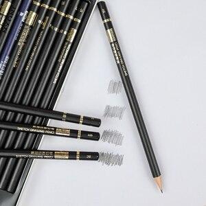 Image 5 - Карандаши NYONI Углеродные для рисования скетчей, набор из 29 предметов, 2H HB 2B 4B 6B 8B 12B 14B древесный уголь, ручка для рисования, Канцтовары