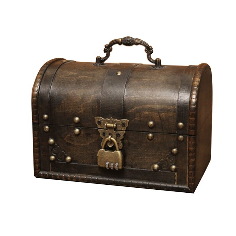LIXF Chic Wooden Pirate Jewellery Storage Box Case Holder Vintage Treasure Chest for Wooden organizer Large