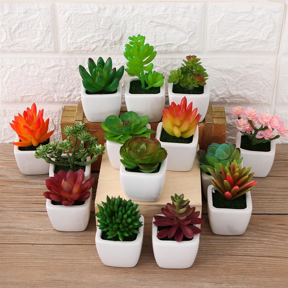 Высококачественные искусственные мини-растения, яркие суккуленты, искусственные цветы Лотос бонсай, цветочные поделки, домашний декор, офи...