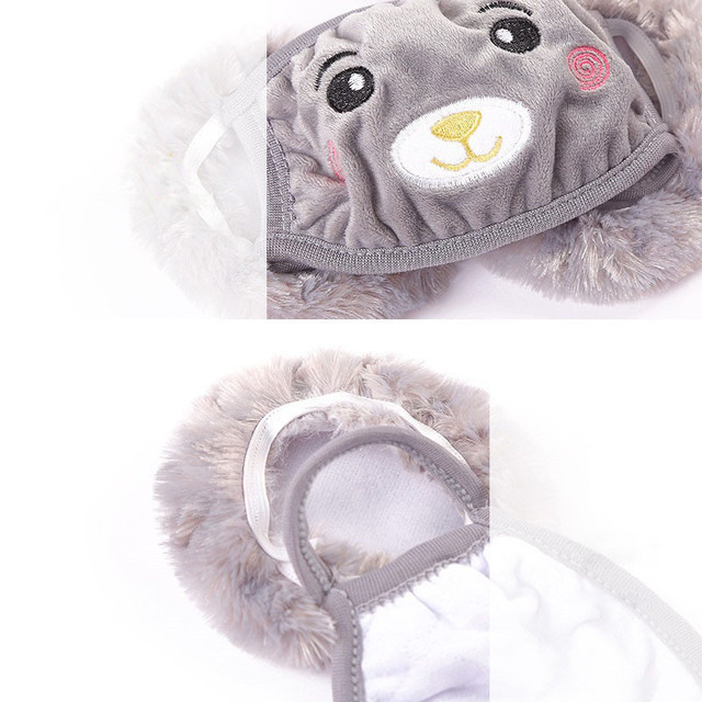 Mother Kids Cute Bear Ear Protective Face Mask Windproof Mouth-muffle Anti Dust Masks Children Anti Haze Flu Cotton Moiuth Masks 2