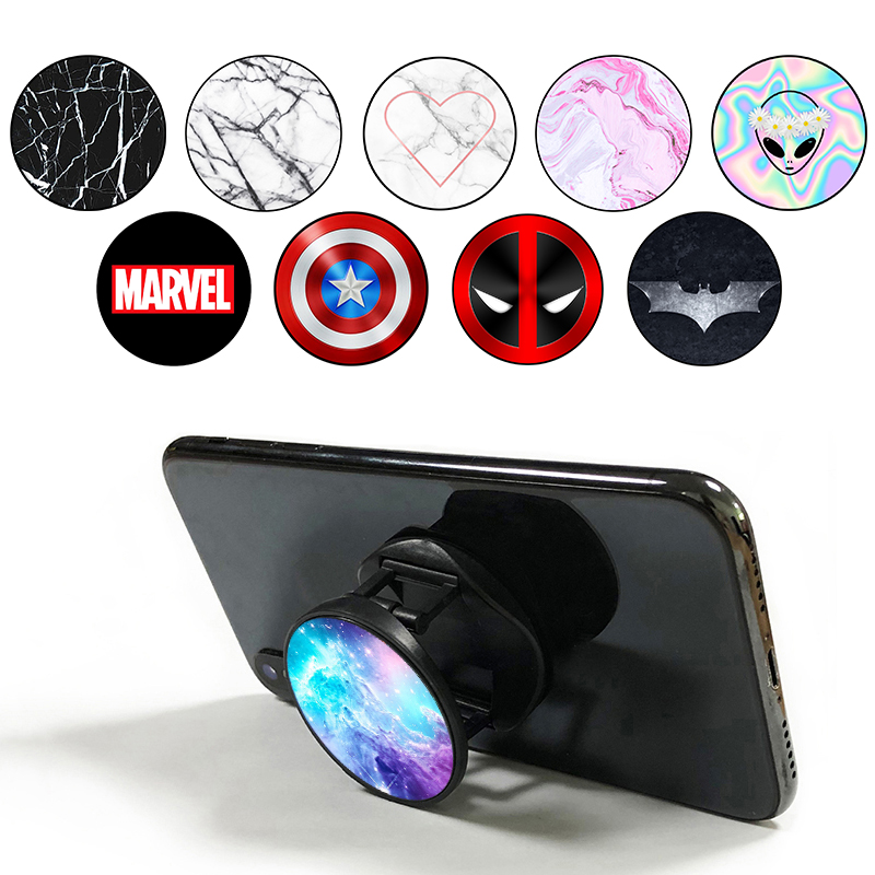 попсокет Marvel Popping Drawing Hot Marble Socket Round Pocket Socket Mobile Phone Holder Expanding Stand And Grip Finger Ring