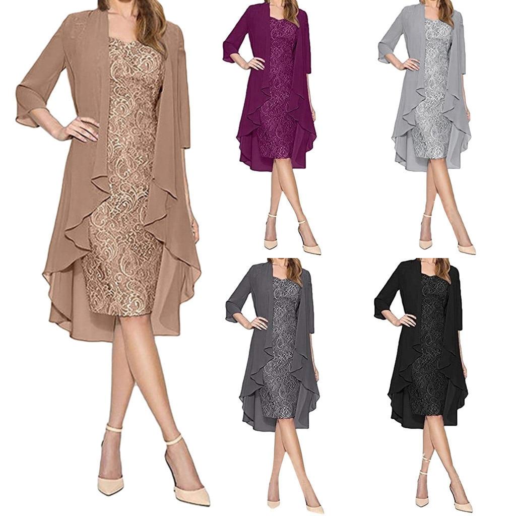 Elegant Dress Women 2pcs Long Sleeve Two-Piece Lace Women Dress Female Black Evening Party Dress Vestidos Spring Dress Ropa Muje