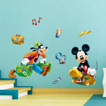 cartoon wonderful travel mickey goofy wall stickers for kids rooms home decor disney decals pvc mural art diy posters